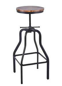 Image Is Loading Vintage Industrial Bar Stools Round Swivel Wood Seat