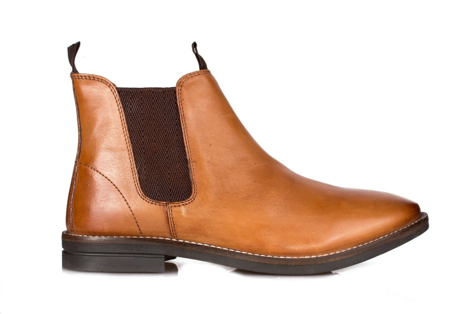 Mens Premium 100% Leather Dealer Chelsea Boot - Slip On All Day Comfort
