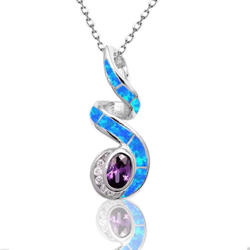 White Gold Oval Amethyst w Blue Fire Opal Sterling Silver Infinity Necklace