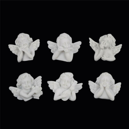Lot of 6 White Resin Cabochons Baroque Style Angels Flatbacks Jewelry Crafts