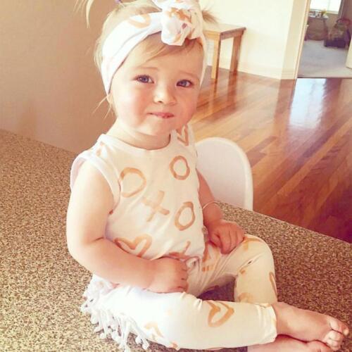 Newborn Baby Girl Romper+Headband Jumpsuit Playsuit Outfits 2PCS Set Clothes CC