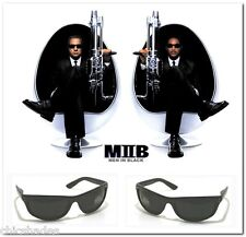 2 Pair MIB Men In Black Frame Celebrity Movie Wrap Sunglasses Dark Smoke Lenses
