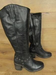 Ted \u0026 Muffy Black Leather Tall Wide