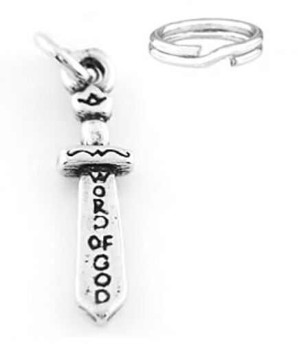 """STERLING SILVER /""""3D ARMOR OF GOD-SWORD/"""" CHARM WITH ONE SPLIT RING"""