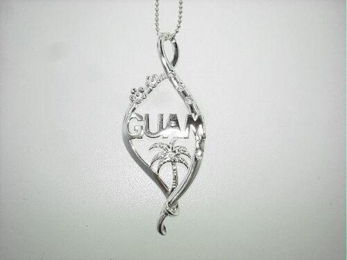 17mm STER Silver Guam Chamorro Palm Flower Twist Ribbon Seal Clear CZ Pendant