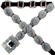 Turquoise Concho Belt Traditional Navajo Hammered Silver Artist Joey McCray