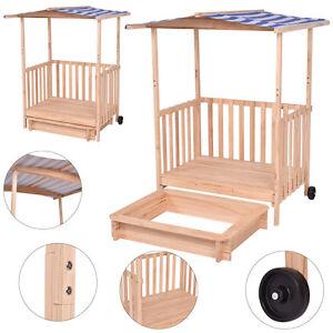 sandkasten mit dach sandkiste kinder spielhaus spielveranda sandbox uv schutz. Black Bedroom Furniture Sets. Home Design Ideas
