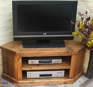 New Real Solid Wood Corner Tv Cabinet Stand Av Unit Rustic Plank