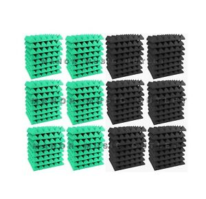 96-pc-Acoustic-Foam-Pyramid-TEAL-and-GREY-12x12x2-034-Studio-Soundproofing-tile