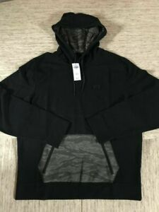 Men-039-s-Abercrombie-A-amp-F-Athletic-Popover-Hoodie-Black-amp-Camo-Large-New-With-Tags