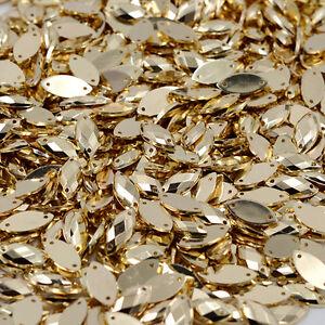 50-x-Gold-Sew-on-Acrylic-Tear-Drop-Diamante-Crystal-Gems-Rhinestone-7x15mm-1