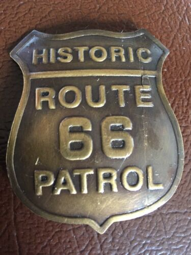 Route 66 Patrol Pin Solid Metal Brilliant Brass Finish Antique Style Huge!!!