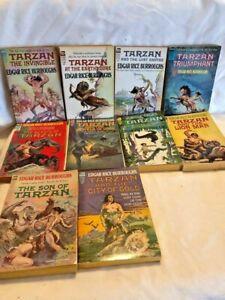 Burroughs Ace F Series Vintage SciFi 10 Book Lot Tarzan Art by Krenkel Frazetta