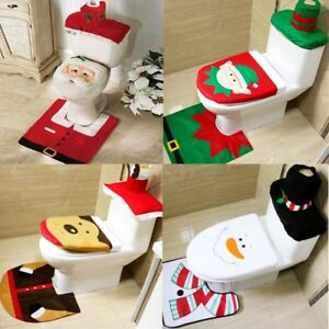 Image Is Loading Christmas Xmas Decoration Toilet Seat Cover Set Santa