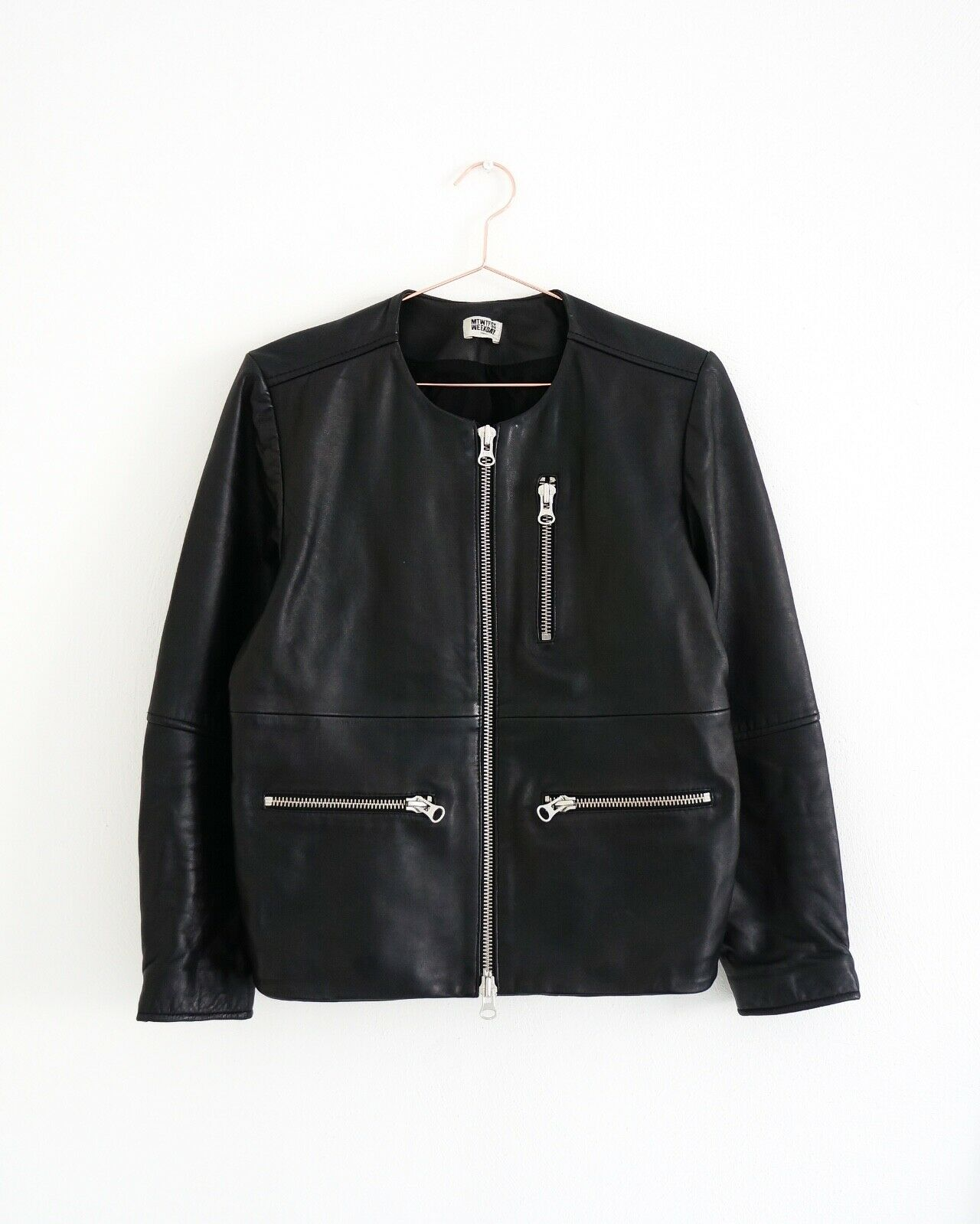 HOF115  Weekday PC Coco Jacket leather schwarz   Jacke echt leder biker schwarz S