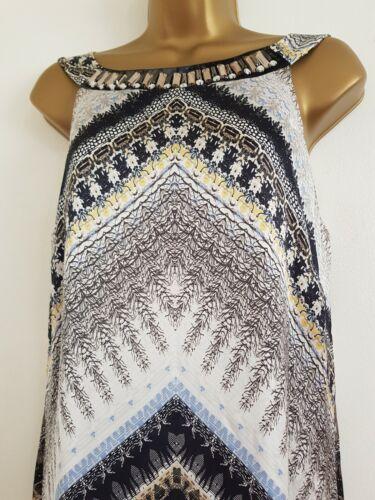 Nouveau Ex Wallis 10 12 14 FOREST Aztèque Imprimé Tribal ornée de perles robe longue