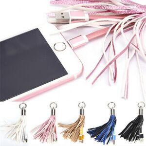 Leather-Tassel-USB-Cable-Metal-Ring-Key-Chain-Charging-Data-Cord-Charger-Wire-BL