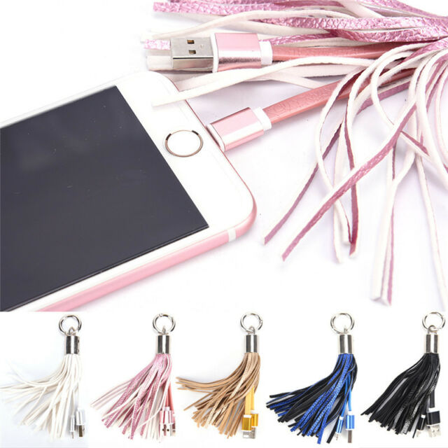Leather Tassel USB Cable Metal Ring Key Chain Charging Data Cord Charger Wire BL