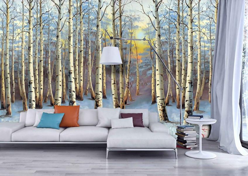 3D Dusk Snow Forest 74 Wall Paper Murals Wall Print Wall Wallpaper Mural AU Kyra