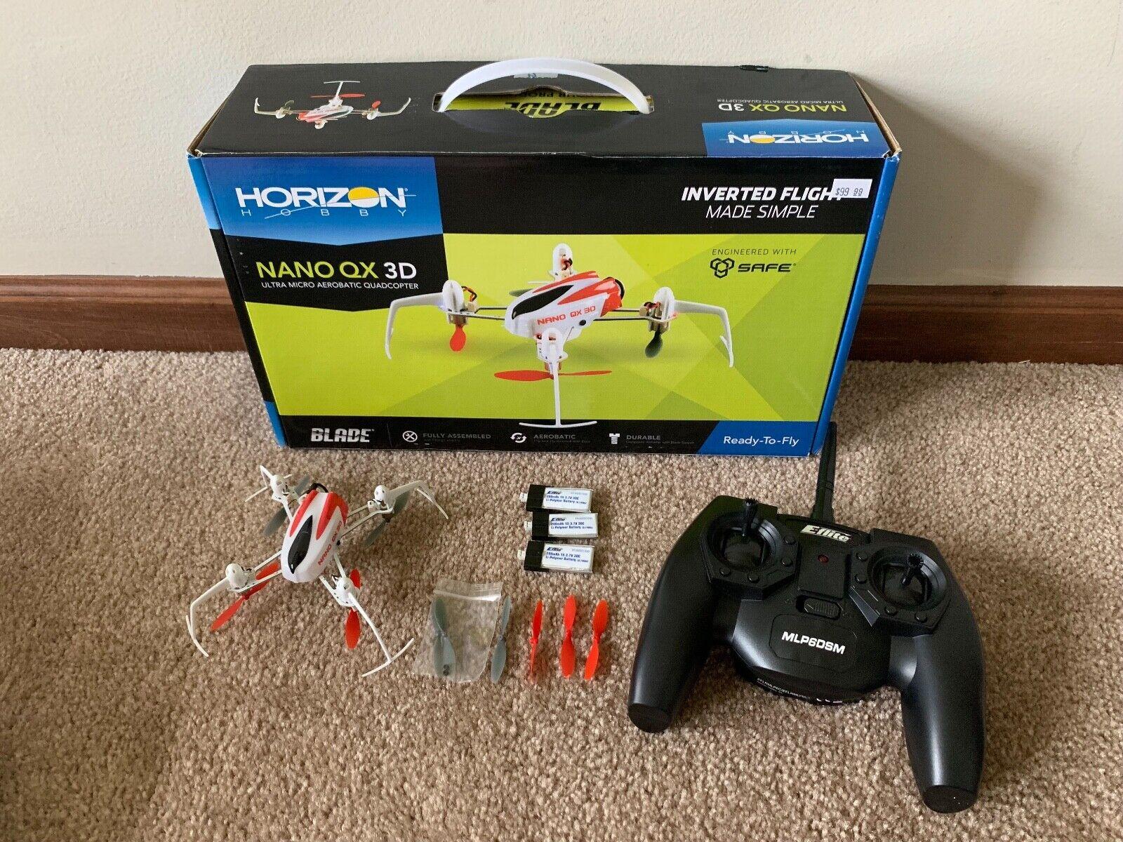 Excelente Estado Blade Nano QX 3D Radio Control Control Remoto Acrobático Drone BLH7100