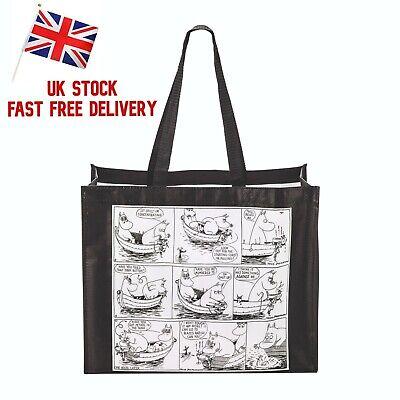 Official The Moomins Black Cotton Tote Bag Reusable Shopping Bag