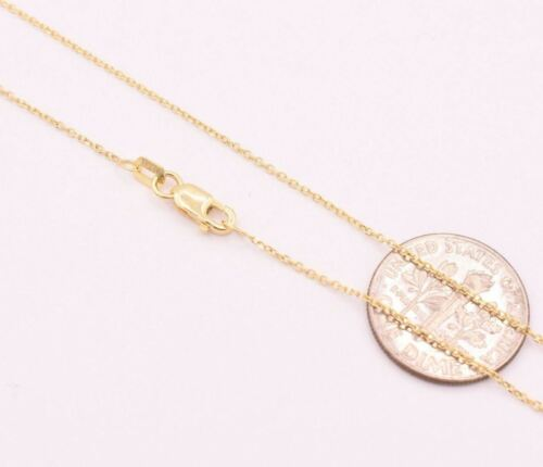 0.90mm 14K YELLOW GOLD Diamond Cut Cable Chain Necklace with Lobster Claw Clasp