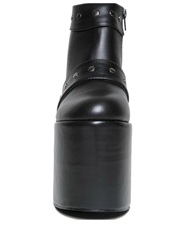 YRU GOTHIC PUNK ROCKER FETISH FASHION PLATFORM VEGI LEATHER FETISH ROCKER UP BLACK Schuhe 5aa00f