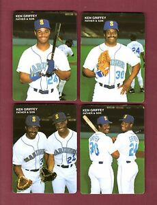 c6cb23f831 1991 Mother's Cookies KEN GRIFFEY, JR. Father-Son 4-card set ...
