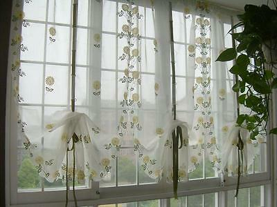 Country Style Hand Embroidered Sunflowers Sheer Voile Cafe Kitchen Curtain