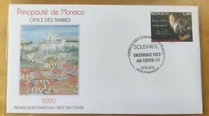 2020 Monaco Solidarity We Face Fight Virus Pandemic Frontliner Heroes stamp FDC