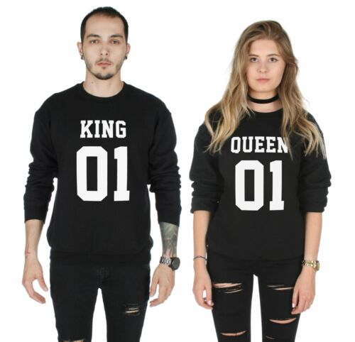 King 01 Queen 01 Matching Sweater Top Jumper Sweatshirt  His Hers Valentines Day