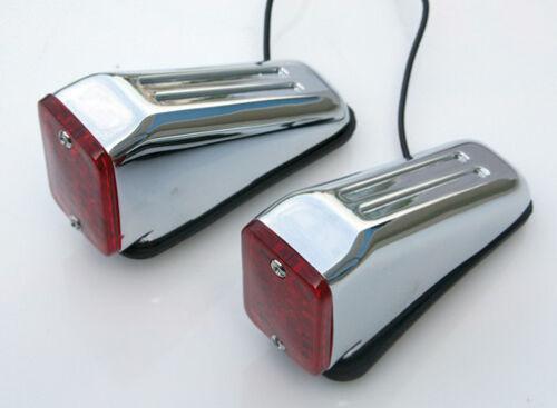 Ultima Chrome Plated 12V Red Lens Style Wedge Marker Lights For Harley Models