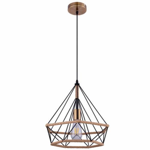 Hanf Seil Pendel Strahler Retro Decken Lampe Küchen Flur Vintage Hänge Leuchte