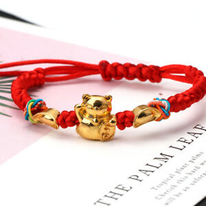 Lucky-Kabbalah-Red-String-Braided-Golden-Fortune-Cat-Bracelets-Fashion-Jewelry