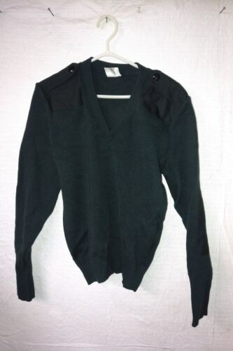 CANADIAN MILITARY COMMANDO V-NECK 100/% WOOL SWEATER DARK GREEN SIZE LARGE