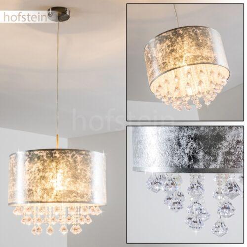 Design Lüster Hänge Beleuchtung Ess Wohn Schlaf Zimmer Pendel Lampe Stoff Silber