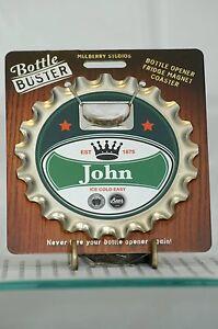 BOTTLE BUSTER JOHN~COASTER~FRIDGE MAGNET~BOTTLE OPENER~NEW~FREE US SHIP~