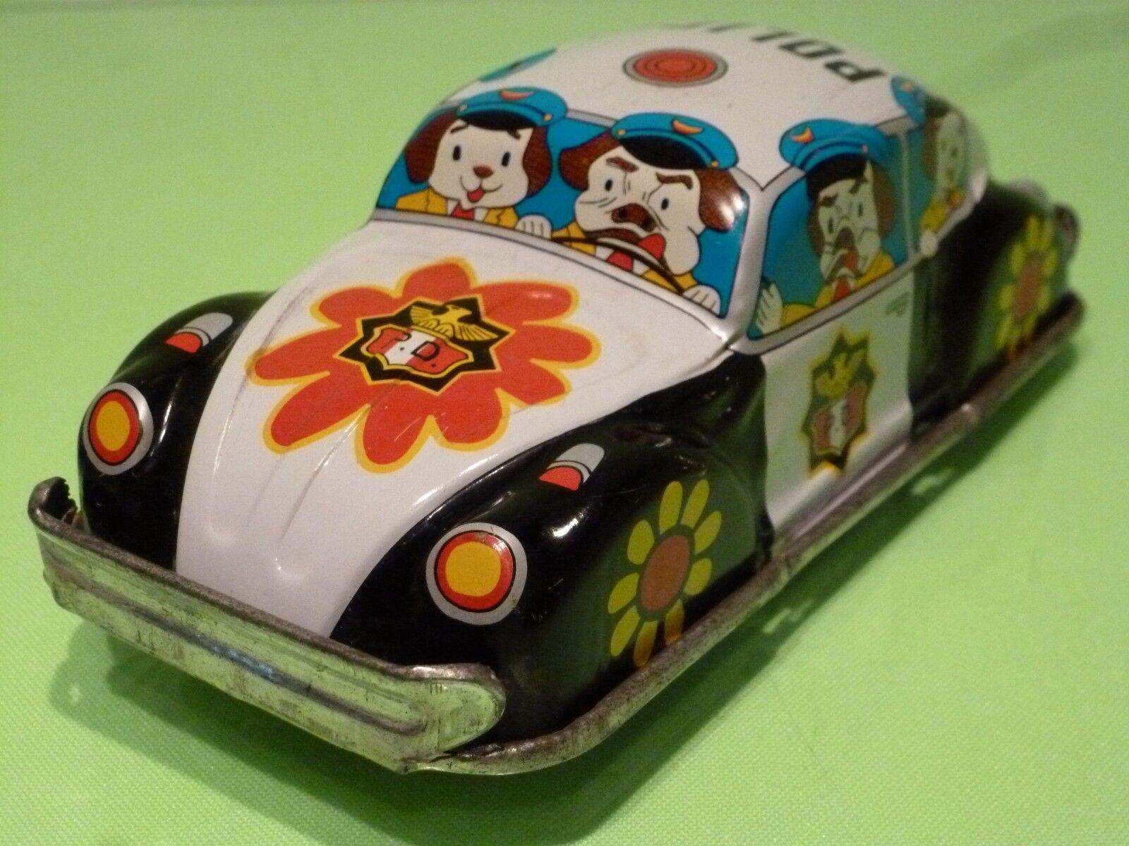 VINTAGE TIN TOY BLECH JAPAN K TOY - VW BEETLE CARTOON WILD WOODY - POLICE - RARE