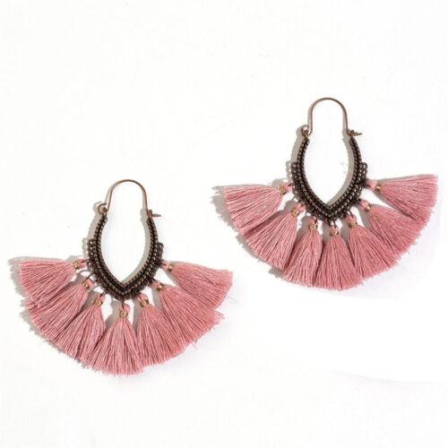 Bohemian Chunky Women Hook Long Earrings Jewelry Drop Tassel Dangle Boho Fringe