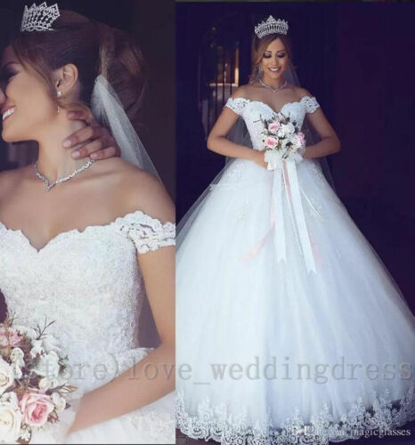 Arabic Off Shoulder Wedding Dress Long Tulle Country Garden Bridal Gown Plus6-30