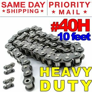 40H-Heavy-Duty-Roller-Chain-x-10-feet-2-Connecting-Link-Same-Day-Shipping