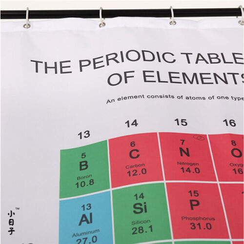 Periodic Table of Elements Chart Chemistry Theme Shower Curtain Decor 6A