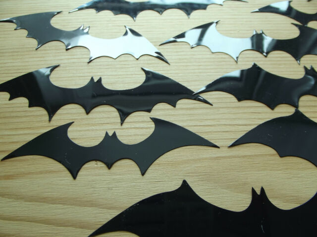 HALF PRICE! Pack of 12 Glossy Vinyl Bats: 3D Decoration / Decal