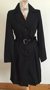 Ladies Belted Trench Coat Mac Zara Black M Size dqaZEa6