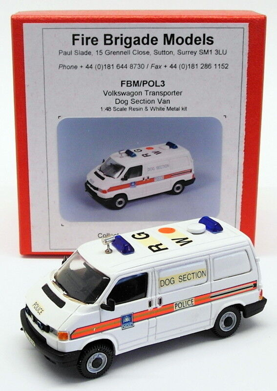 Fire Brigade Models 1 48 Scale FBMPOL3 - VW Transporter Dog Section Police Van  | Charmantes Design