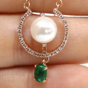 Vintage-Antique-Green-Emerald-White-Akoya-Pearl-Necklace-14K-Rose-Gold-Filled