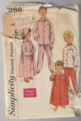 UNISEX Child Sz 4 OR 6 NIGHTSHIRT PAJAMAS CAP 2288 SIMPLICITY c.1960/'s