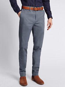 Men-039-s-Nuevo-M-amp-S-Algodon-Elastizado-Slim-Fit-Pantalones-Tipo-Chino-Pantalones-Informales