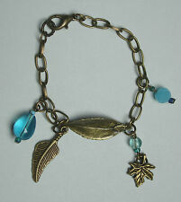 OoaK hand made bronze tone chain charm bracelet leaves turquoise blue beads