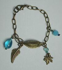 OoaK hand made bronze tone chain charm bracelet leaves turquoise blue beads